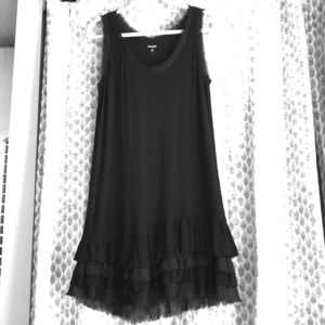 Kensie Black Ruffle Hem Dress L Large